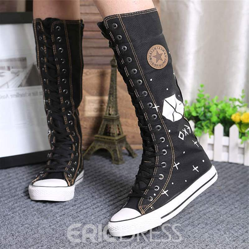 Ericdress Canvas Side Zipper Round Toe Women's Knee High Boots