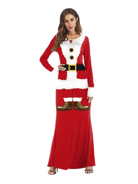 Ericdress Christmas Color Block Long Sleeve Print Sexy Costumes