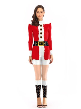 Ericdress Color Block Long Sleeve Print Christmas Sexy Costumes