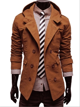 Ericdress Brown Revers Zweireiher Herren Mantel