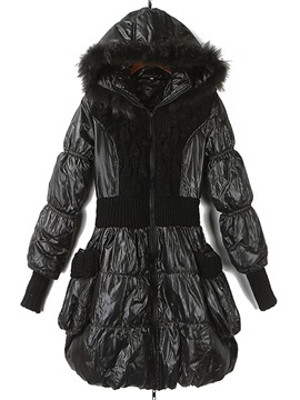 Ericdress Patchwork Thick Zipper Mid-Length Cotton Padded Jacket