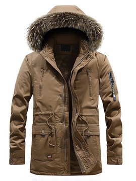 Ericdress Plain Lace Up Fur Hooded Zipper Button Mens Thick Winter Coats