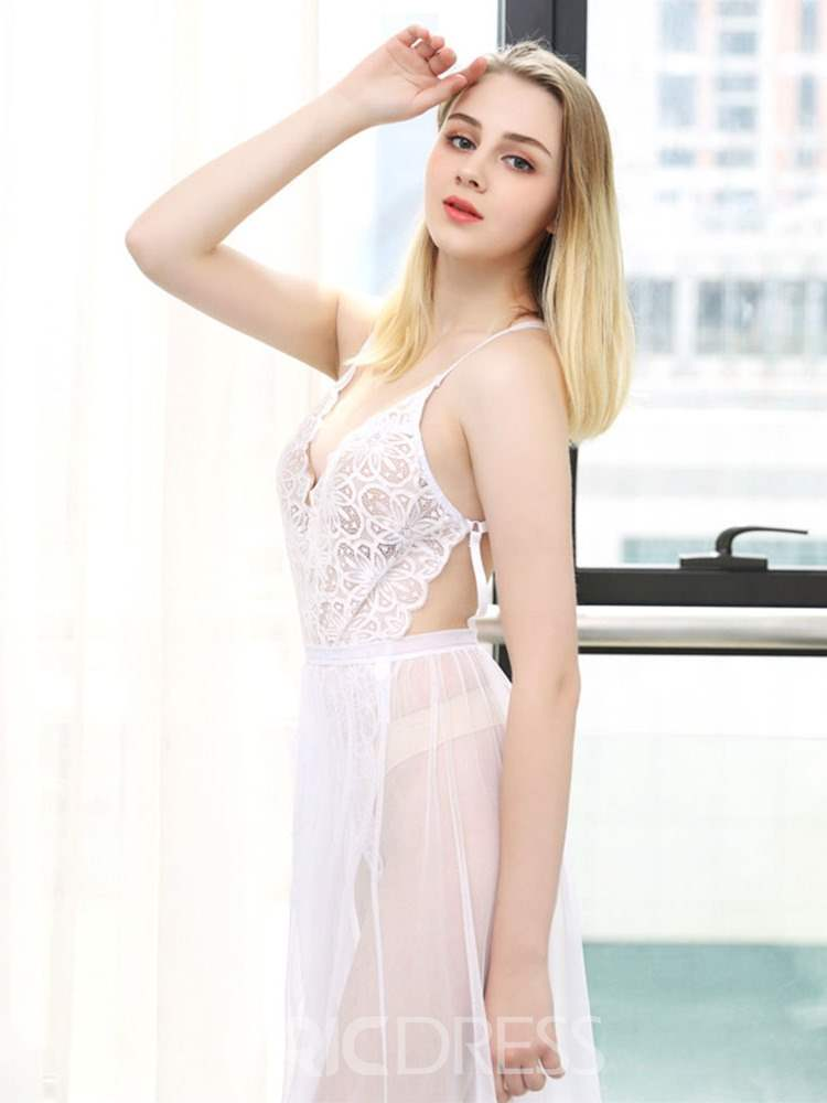 Ericdress Spaghetti Strap See-Through Mesh Long Babydoll