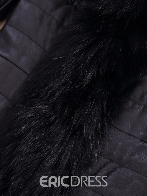 Ericdress Slim Mid-Length Thick Winter Faux Fur Overcoat