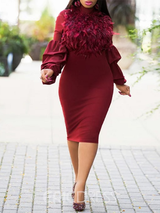 Ericdress Long Sleeve Feather Bodycon Dress
