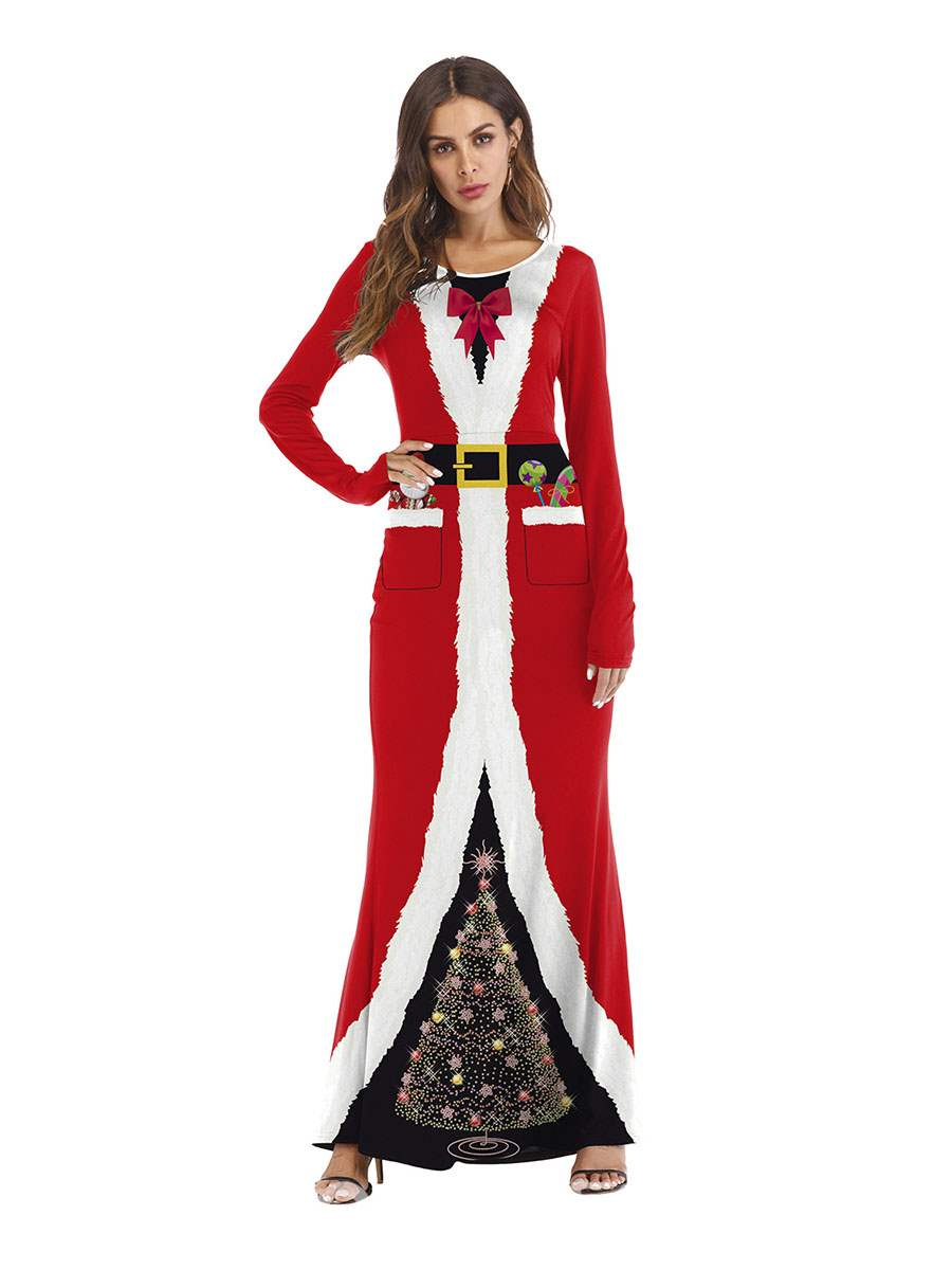 Ericdress Long Sleeve Christmas Print Color Block Sexy Costumes