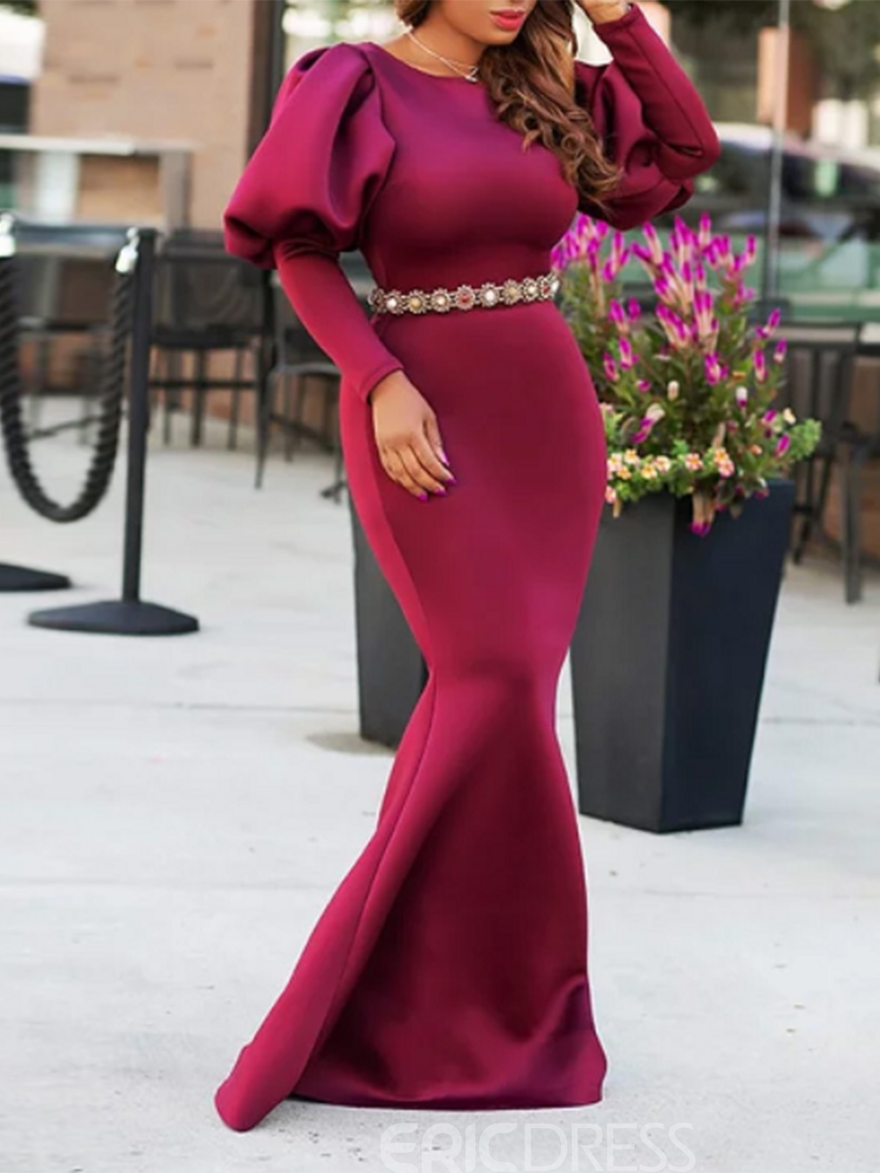 Ericdress Lantern Long Sleeve Floor-Length Mermaid Dress(Without Waistband)