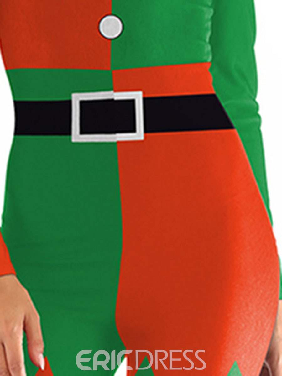 Ericdress Print Long Sleeve Color Block Christmas Sexy Costumes
