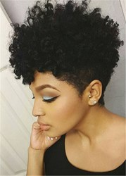 ericdress / Ericdress African American Short Afro Curly Human Hair Full Lace Wig 6 Inches