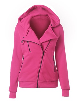 Ericdress Zipper Patchwork Plain Thick Hooded Hoodie