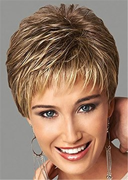 Ericdress Women's Short Pixie Cut Choppy Layered Human Hair Capless Wigs 8Inches