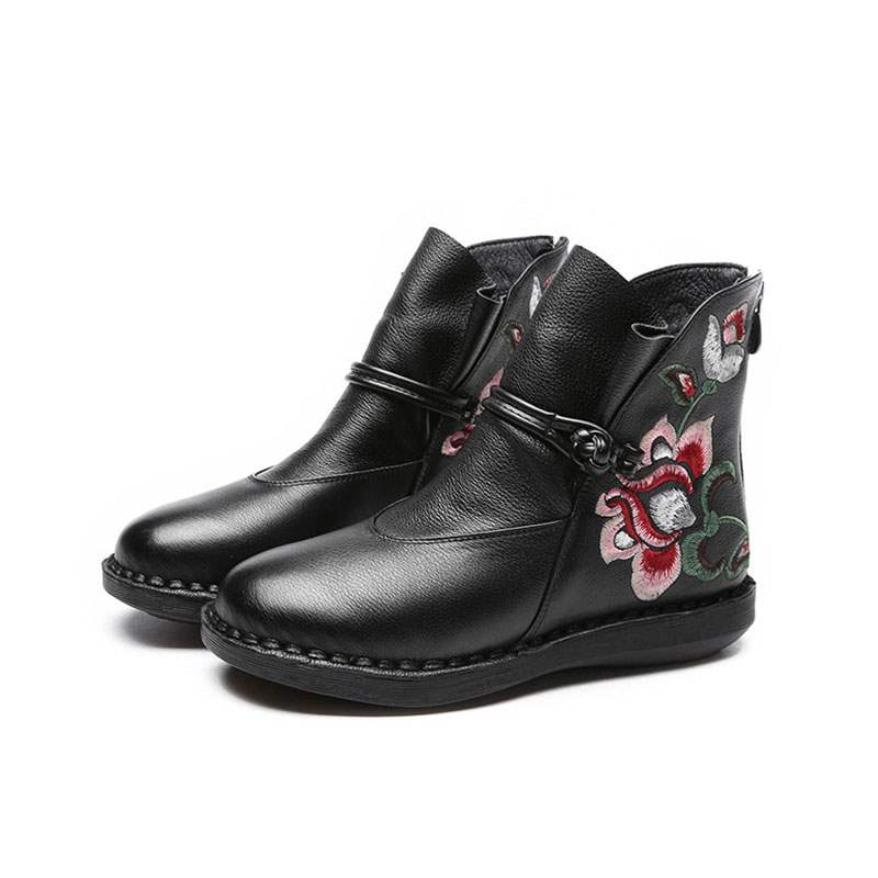 Ericdress Round Toe Side Zipper Floral Women's Boots