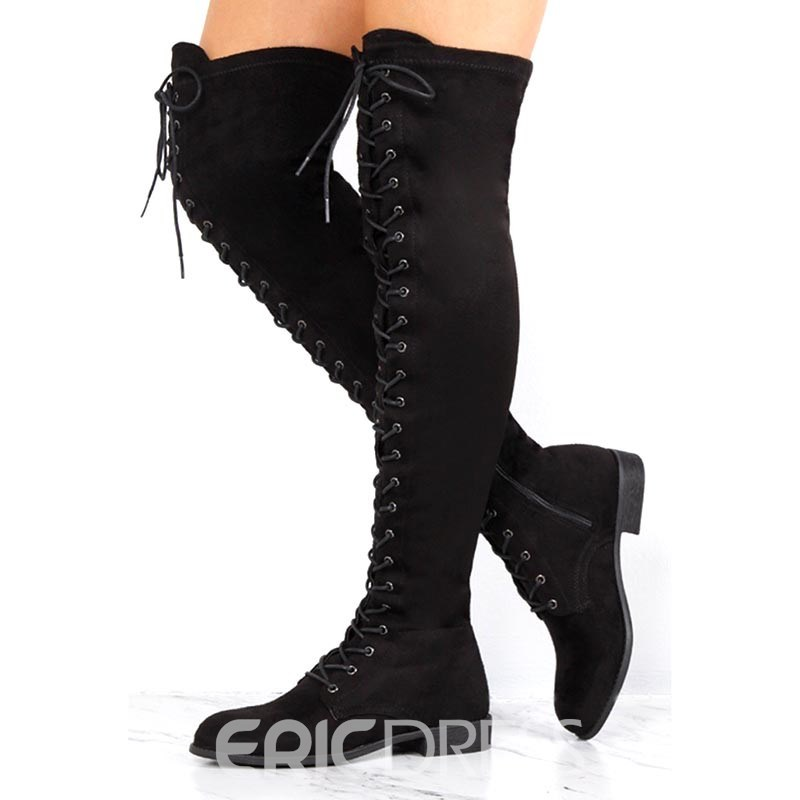 Ericdress Block Heel Cross Strap Women's Knee High Boots