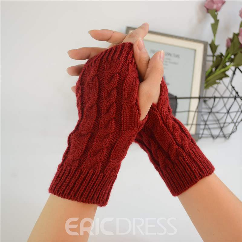 Ericdress Pure Color Knit Twist Women's Gloves