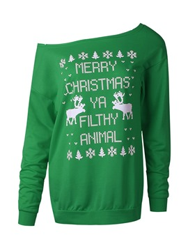 Ericdress Christmas Print Regular Letter Long Sleeve Mid-Length Hoodie
