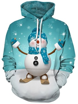 Ericdress Christmas Cartoon Regular Print Hooded Standard Hoodie