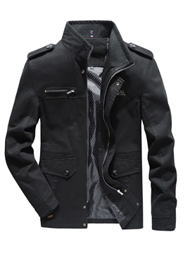 Ericdress Plain Stand Collar Zipper Mens Casual Jacket