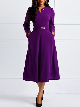 Ericdress Ankle-Length Pocket Long Sleeve Pullover Plain Dress