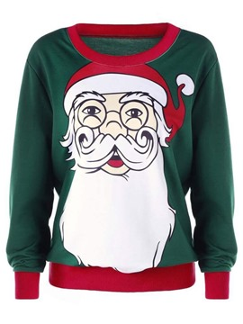 Ericdress Christmas Regular Cartoon Print Long Sleeve Round Neck Hoodie