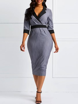 Ericdress Notched Lapel Office Lady Stripe Dress