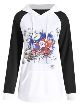 Ericdress Christmas Regular Print Cartoon Hooded Long Sleeve Hoodie