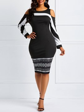 Ericdress African Fashion Cold Shoulder Color Block Black Dresses