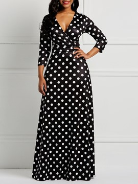 Ericdress Polka Dots V-Neck Long Sleeves Women's Dress