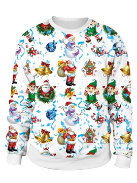 Ericdress Christmas Print Cartoon Regular Long Sleeve Standard Hoodie