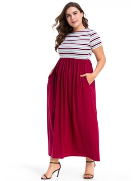 Ericdress Plus Size Patchwork Short Sleeve Round Neck A-Line Color Block Dress