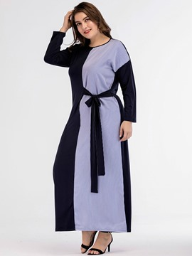Ericdress Plus Size Patchwork Round Neck Ankle-Length A-Line Fall Dress