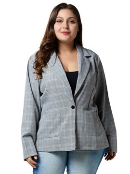 Ericdress One Button Plaid Notched Lapel Fall Wear to Work Blazer