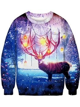 Ericdress Christmas Print Regular Cartoon Round Neck Long Sleeve Hoodie
