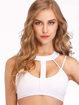 Ericdress Halter Plain Absorbent None Free Wire Sports Bras