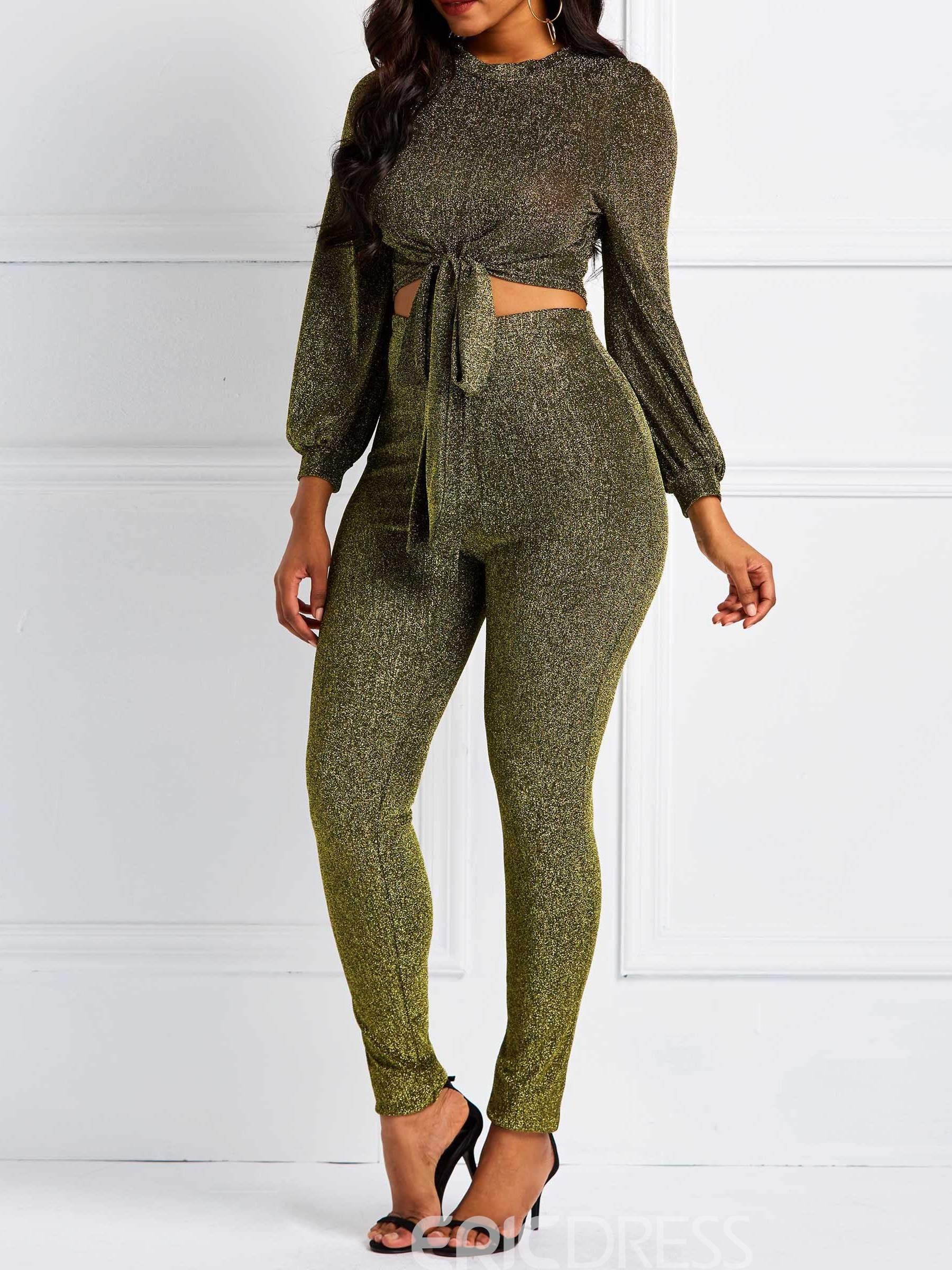 Ericdress Lace-Up Plain Skinny Shirt and Pencil Pants Women's Two Piece Sets