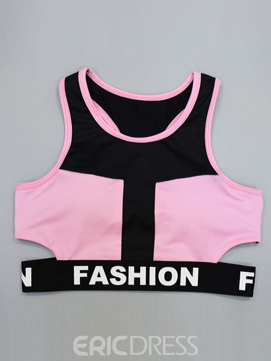 Ericdress Breathable Print Color Block Sleeveless Sports Sets