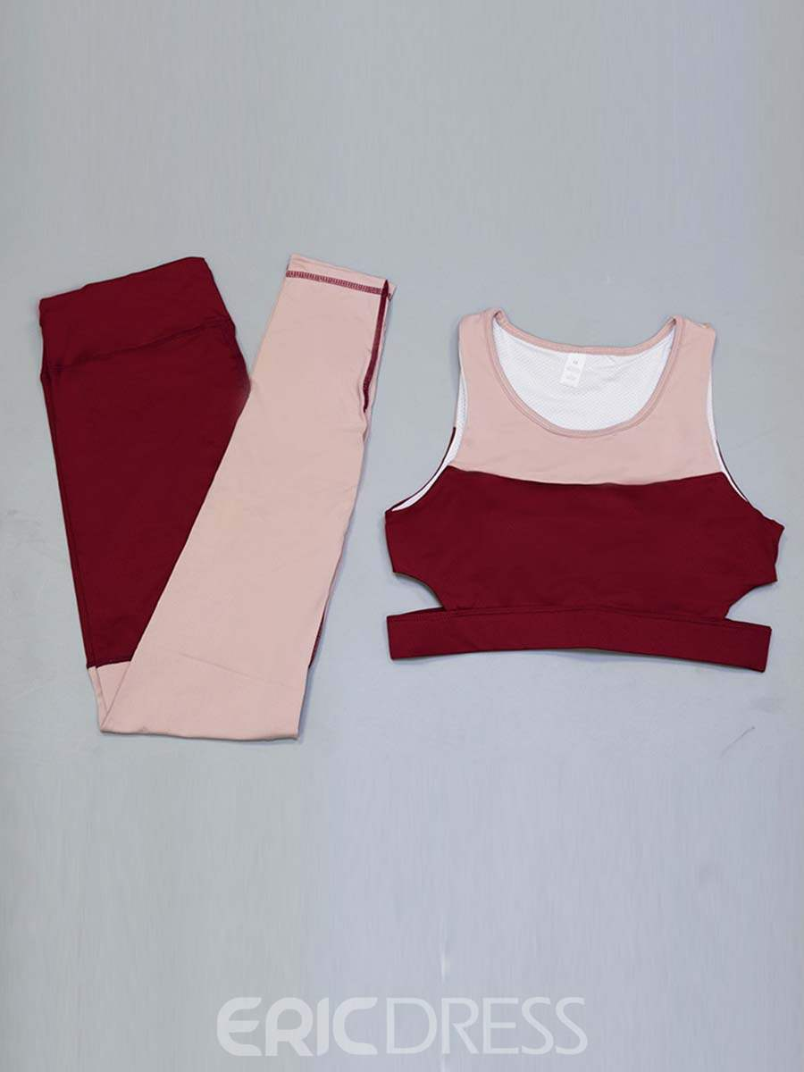 Ericdress Quick Dry Color Block Patchwork Sleeveless Sports Sets