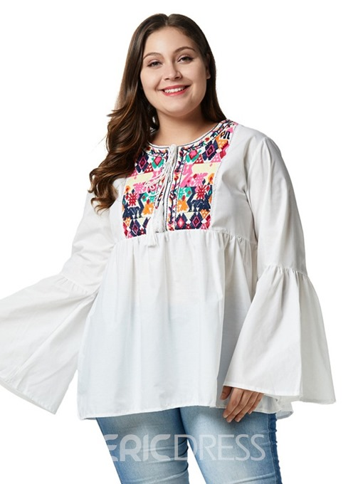 Ericdress Flare Sleeve Lace-Up Plus Size Print Blouse