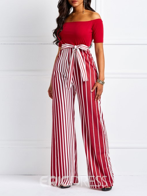 Ericdress Striped Off-Shoulder Skinny High-Waist Women's Jumpsuit