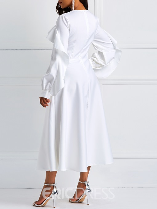 Ericdress Long Sleeve Ruffles A-Line White Dresses