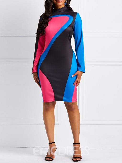 Ericdress Long Sleeve Color Block Stand Collar Bodycon Dress