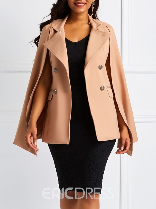 Ericdress Double-Breasted Button Cape Mid-Length Overcoat