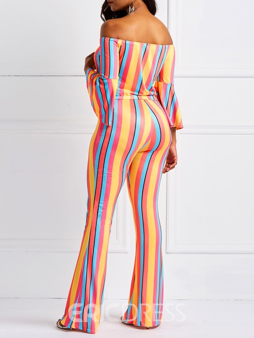 Ericdress Striped Color Block Off-Shoulder T-Shirt and Bellbottoms Women's Two Piece Sets