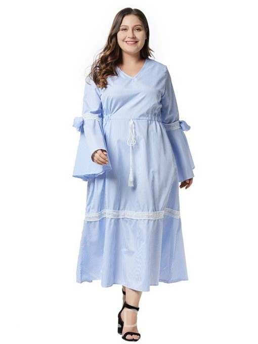 Ericdress Plus Size Long Sleeve Ankle-Length V-Neck Plain Casual Dress