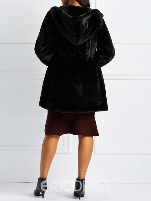 Ericdress A Line Hooded Plain Winter Faux Fur Overcoat