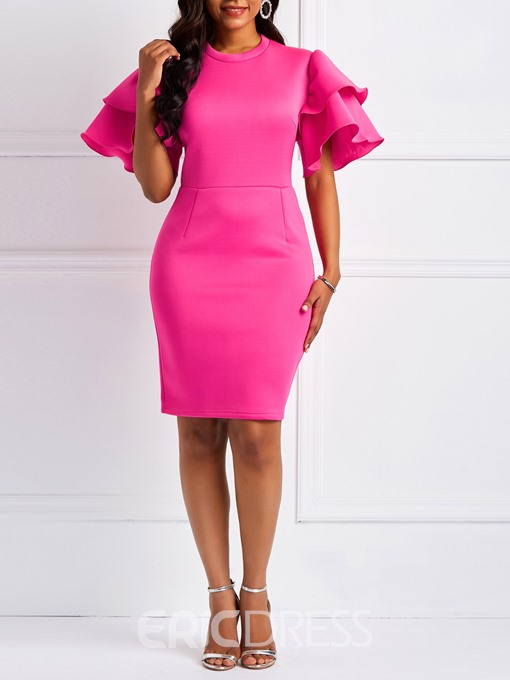 Ericdress Bodycon Falbala Half Sleeve Plain Dress