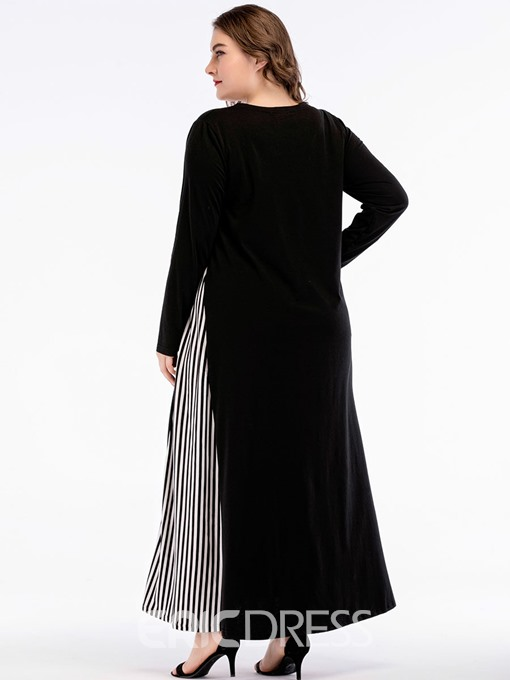 Ericdress Plus Size Long Sleeve Round Neck Pullover A-Line Dress