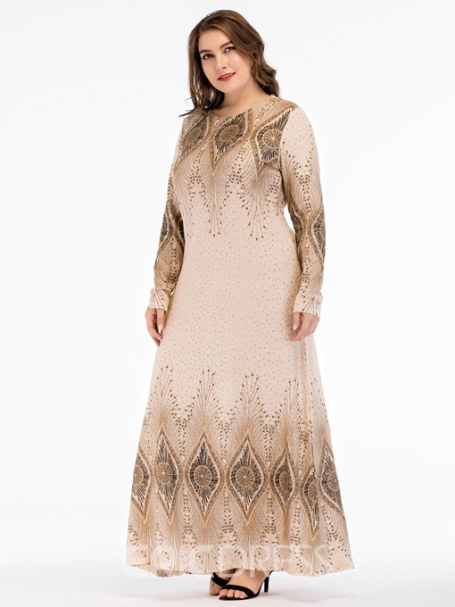 Ericdress Plus Size African Fashion Round Neck Geometric Pullover Dress