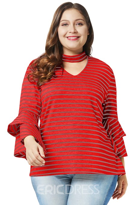 Ericdress Stripe Ruffles Plus Size Slim T-Shirt