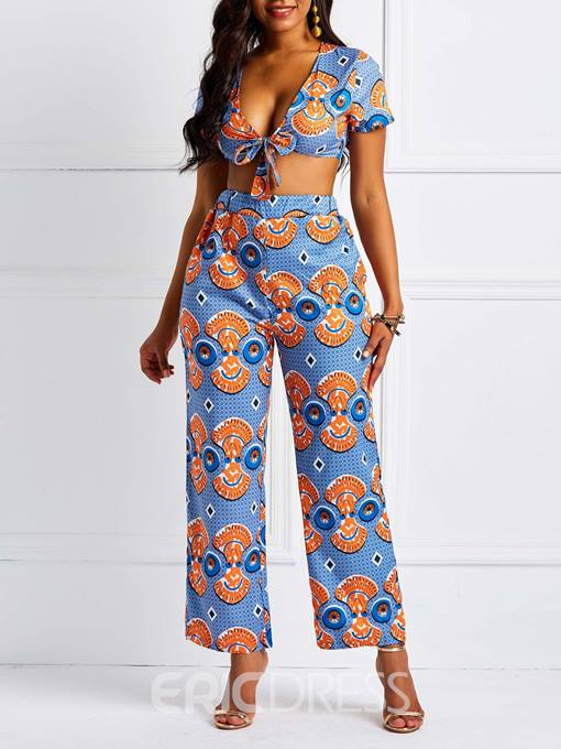 Ericdress Cartoon Sexy Pockets V-Neck T-Shirt and Pants Women's Two Piece Sets