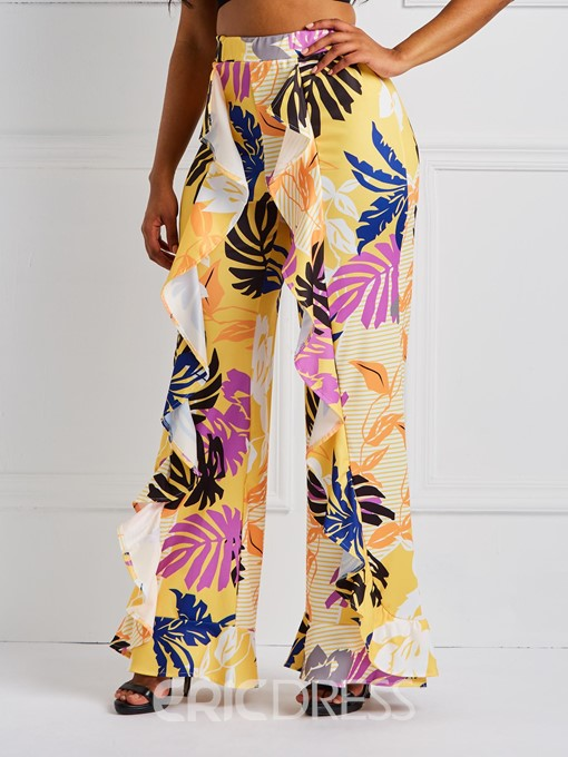 Ericdress Floral Print Loose Wide Legs Full Length Women's Pants